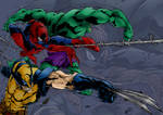 Wolverine Spiderman And Hulk Attack Colours