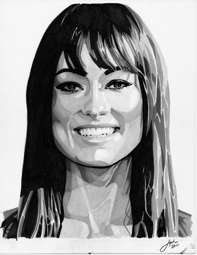 Olivia Wilde Value Study Grey scale by JophielS