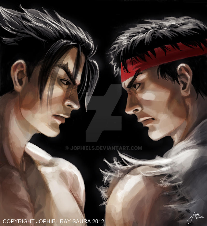 Tekken X Street Fighter: Jin Kazama/ Ryu Cover Art by JophielS