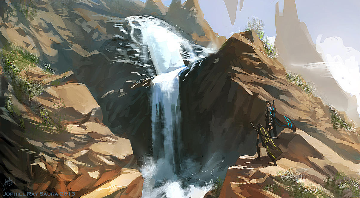 Speed paint: waterfalls by JophielS