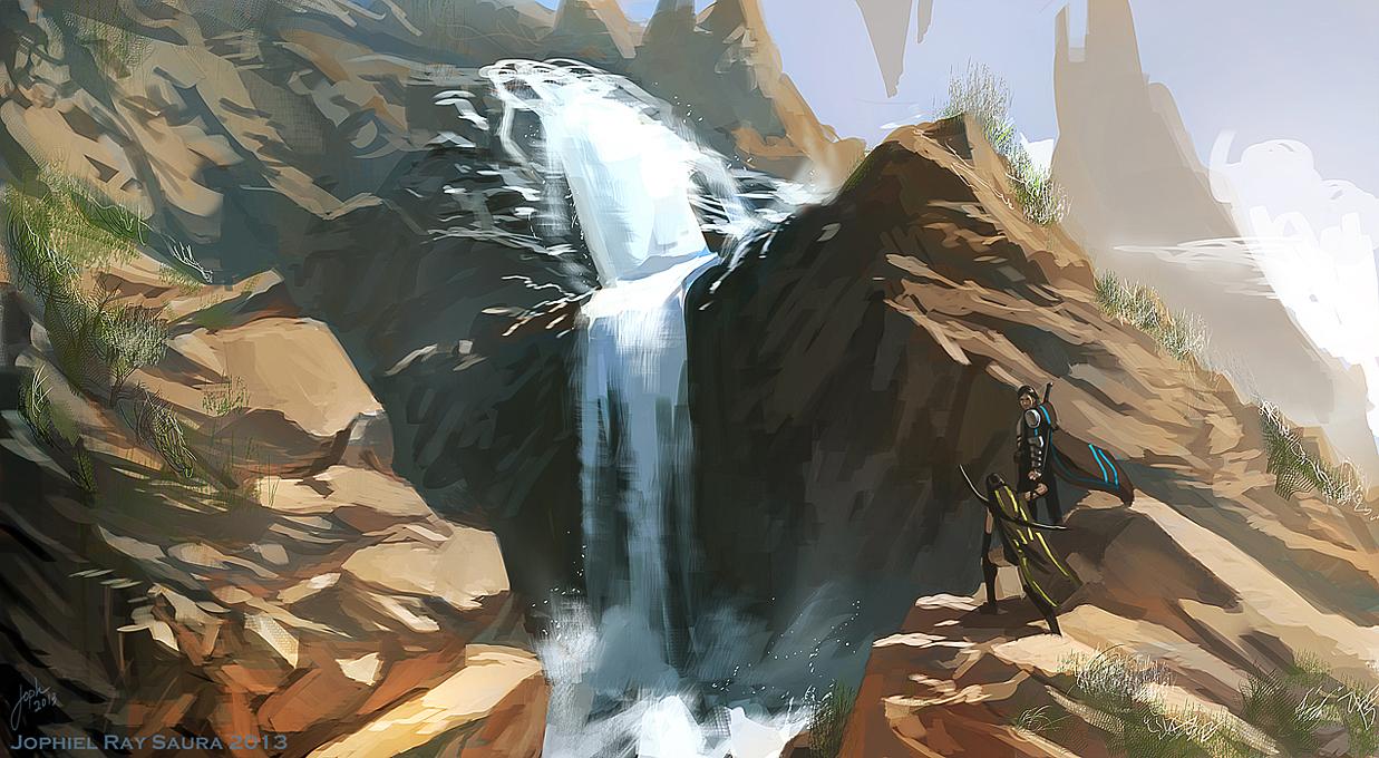 Speed paint: waterfalls by JophielS