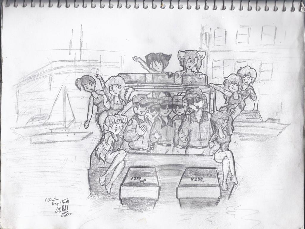 Sketch 2014 Baywatch boat scene by CDRudd
