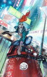 Cyberpunk Girl by NickGreenwood