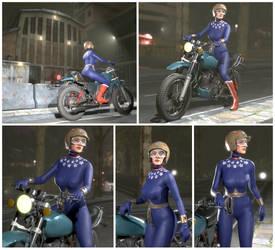 WW in blue bike suit