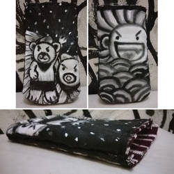Bearnie and Octolla - canvas pouch