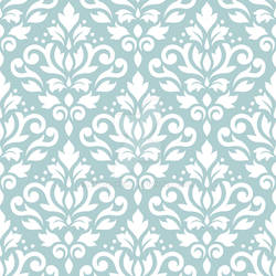 Scroll Damask Pattern White on Lt Teal
