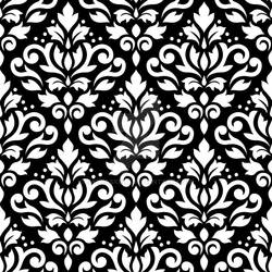 Scroll Damask Pattern White on Black
