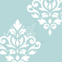 Scroll Damask Art I White on Lt Teal