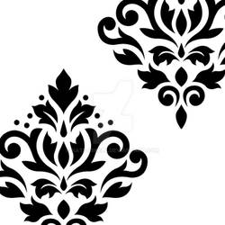 Scroll Damask Art I Black on White