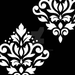 Scroll Damask Art I White on Black