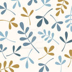 Assorted Leaves Blues Gold Cream