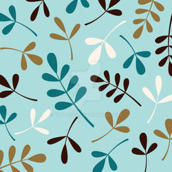 Assorted Leaves Teals Cream Gold Brown