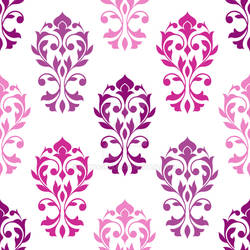 Heart Damask Pattern Pinks Plums White