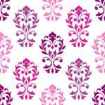 Heart Damask Pattern Pinks Plums White