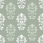 Heart Damask Pattern White and Green Mix