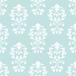 Heart Damask Pattern White on Lt Blue