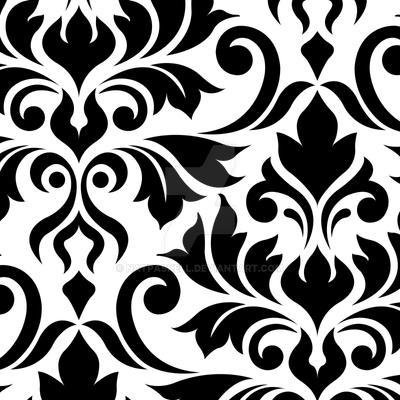 Flourish Damask Art I Black on White by NatPaskell