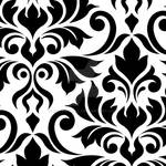Flourish Damask Art I Black on White