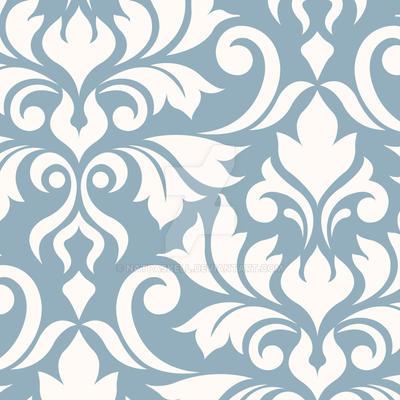 Flourish Damask Art I Cream on Blue by NatPaskell