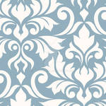 Flourish Damask Art I Cream on Blue