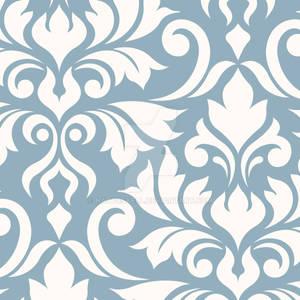 Flourish Damask Art I Cream on Blue