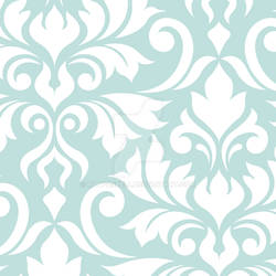 Flourish Damask Art I White on Lt Teal