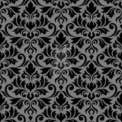 Flourish Damask Ptn Black on Gray