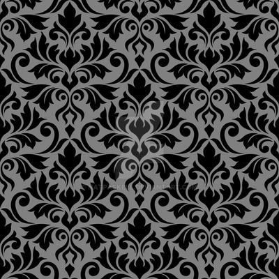 Flourish Damask Ptn Black on Gray by NatPaskell