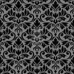 Flourish Damask Ptn Black on Gray