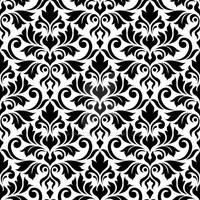 Flourish Damask Ptn Black on White