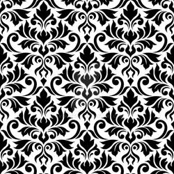 Flourish Damask Ptn Black on White
