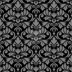 Flourish Damask Ptn Gray on Black