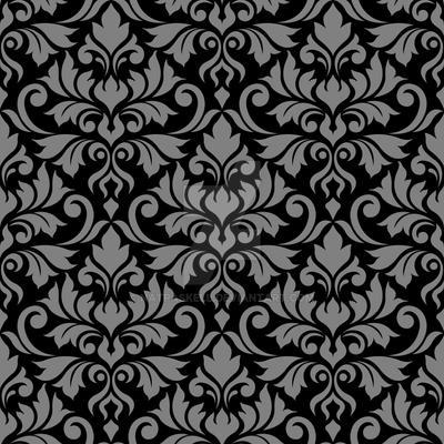 Flourish Damask Ptn Gray on Black by NatPaskell