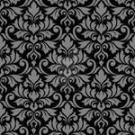 Flourish Damask Ptn Gray on Black