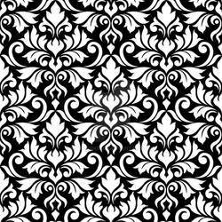 Flourish Damask Ptn White on Black