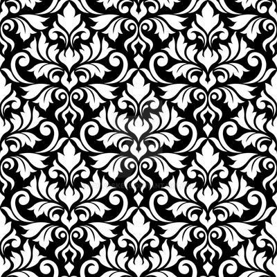 Flourish Damask Ptn White on Black by NatPaskell