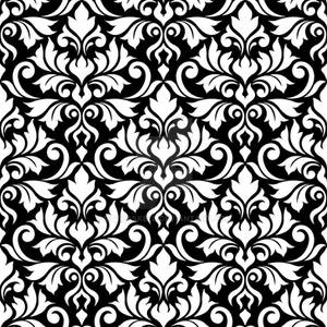 Flourish Damask Ptn White on Black
