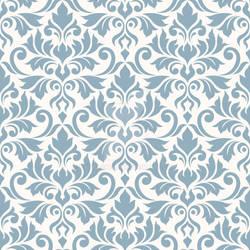 Flourish Damask Ptn Blue on Cream