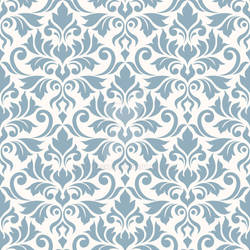 Flourish Damask Ptn Blue on Cream