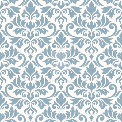 Flourish Damask Ptn Blue on Cream by NatPaskell