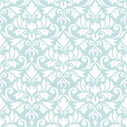 Flourish Damask Ptn White on Lt Teal