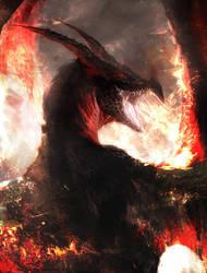 Black dragon by Manzanedo