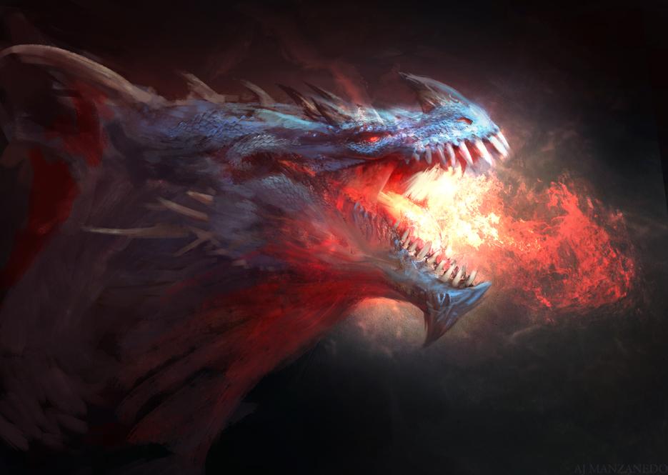 Blue dragon by Manzanedo