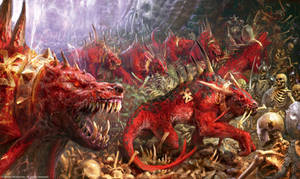 Flesh Hounds vs Skeleton Warriors by Manzanedo