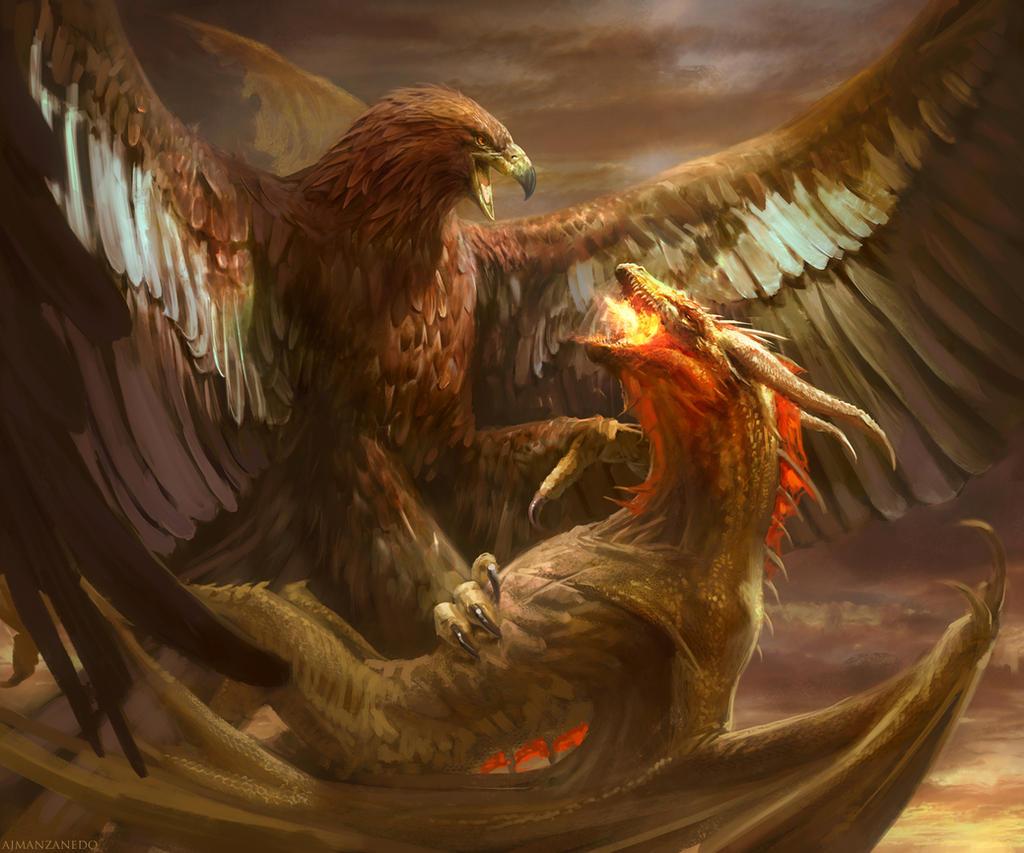 Eagle and Dragon by Manzanedo