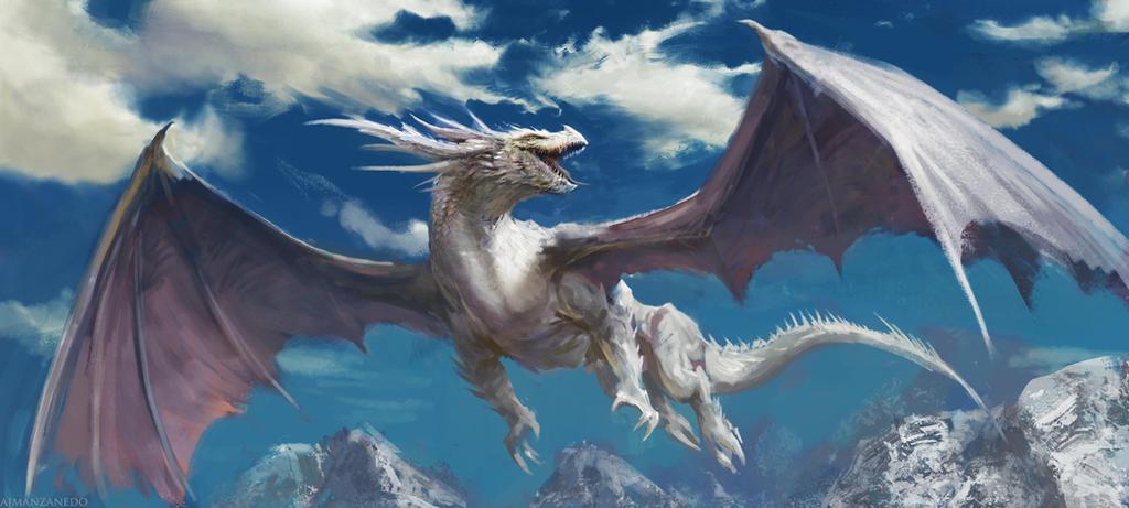 岩地を飛翔するドラゴンの壁紙