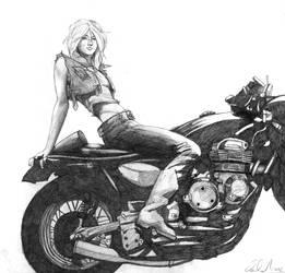 Girl on a bike by MuraART