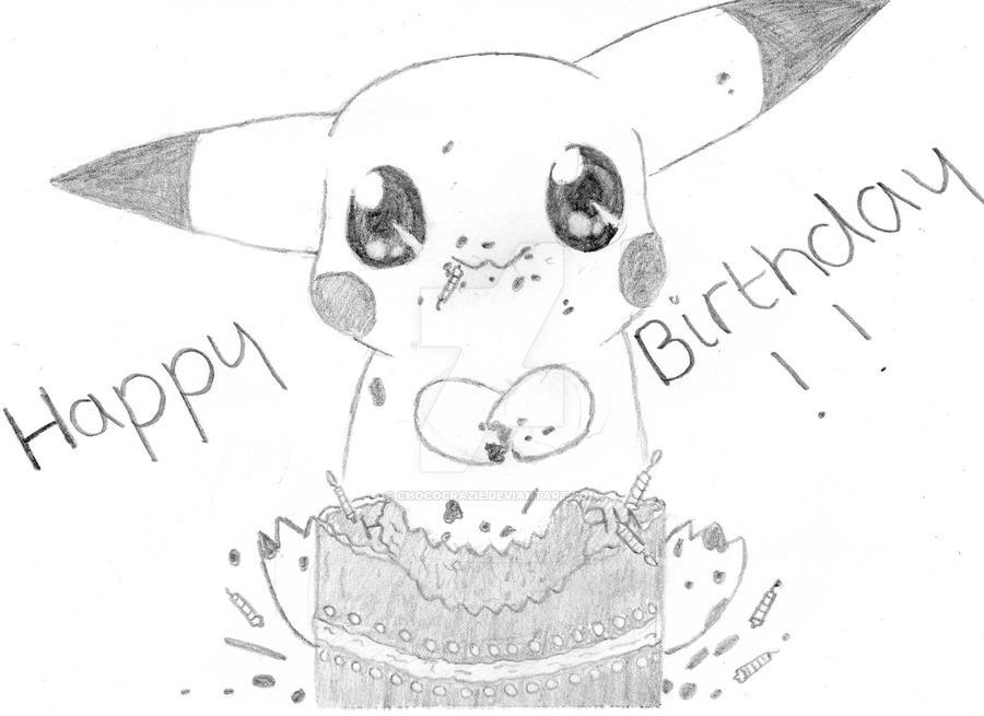 pikachu says happy birthday by chococrazie on deviantart, Birthday card