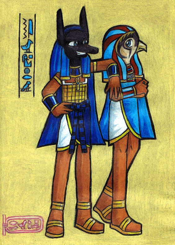 Anubis and Horus by pinkgirl on DeviantArt