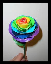 Duct Tape Rainbow Rose by DuckTapeBandit
